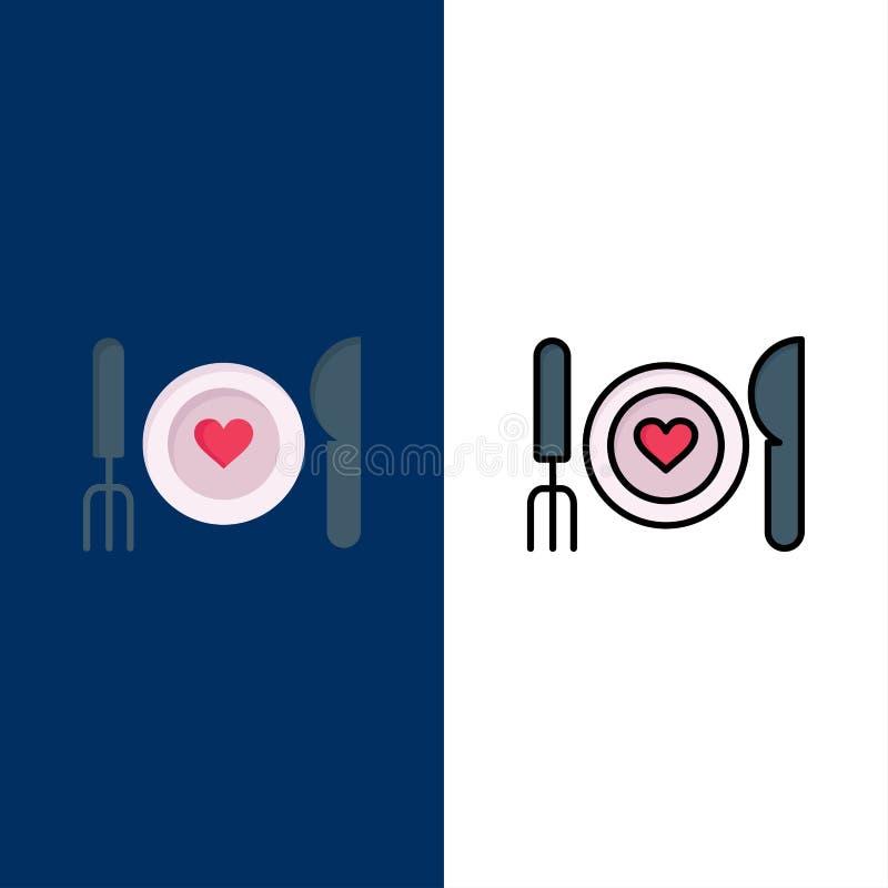 Γεύμα, ρομαντικό, τρόφιμα, ημερομηνία, εικονίδια ζεύγους Επίπεδος και γραμμή γέμισε το καθορισμένο διανυσματικό μπλε υπόβαθρο εικ διανυσματική απεικόνιση