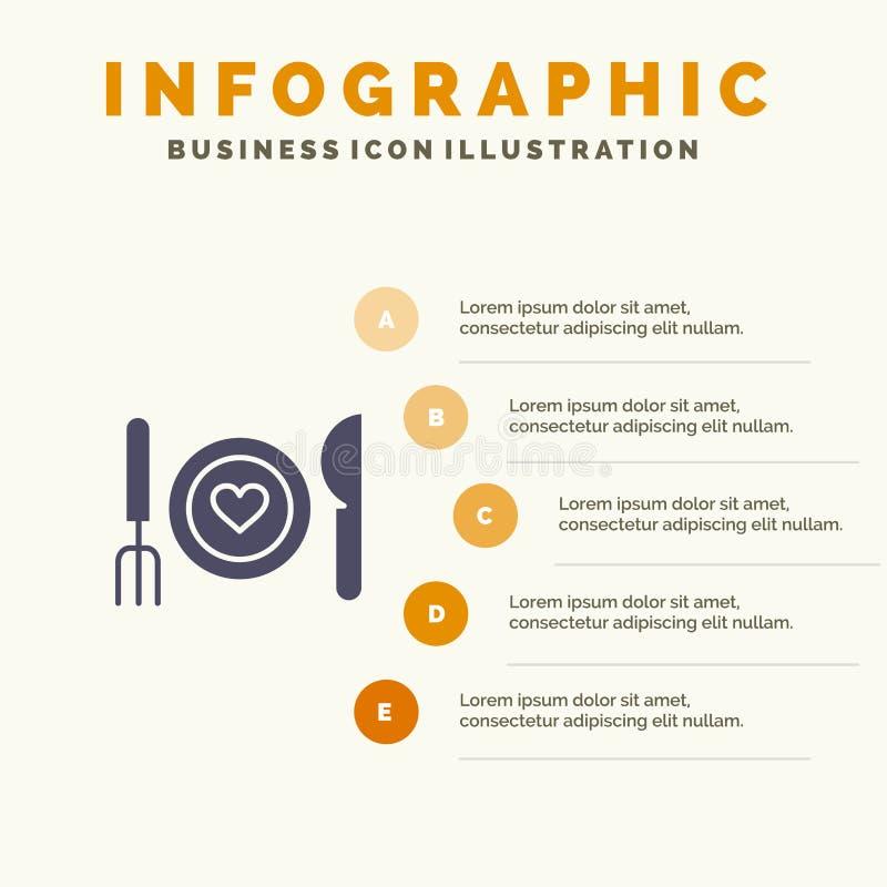 Γεύμα, ρομαντικό, τρόφιμα, ημερομηνία, στερεό εικονίδιο Infographics 5 ζεύγους υπόβαθρο παρουσίασης βημάτων ελεύθερη απεικόνιση δικαιώματος