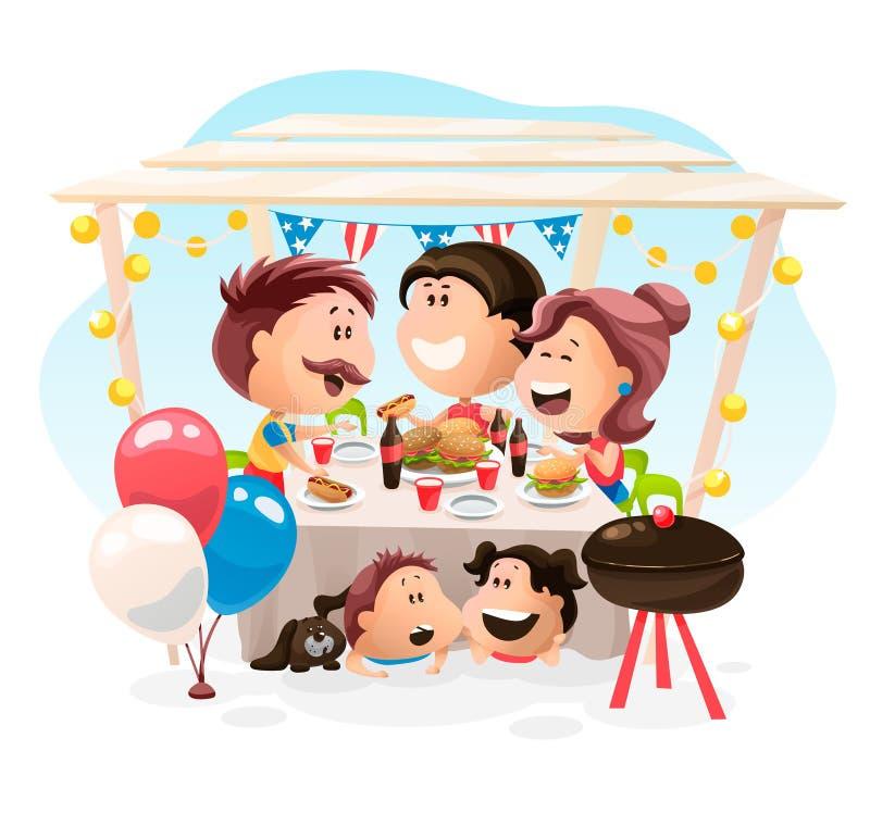 Γεύμα φίλων και οικογενειών στη ημέρα της ανεξαρτησίας στην Αμερική απεικόνιση αποθεμάτων