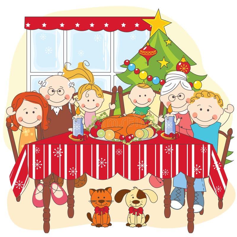 Γεύμα Χριστουγέννων. Μεγάλη ευτυχής οικογένεια από κοινού. διανυσματική απεικόνιση