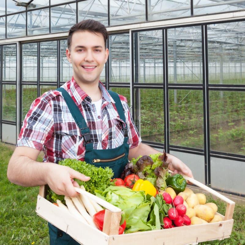 Γελώντας αγρότης μπροστά από ένα θερμοκήπιο με τα λαχανικά στοκ εικόνες με δικαίωμα ελεύθερης χρήσης