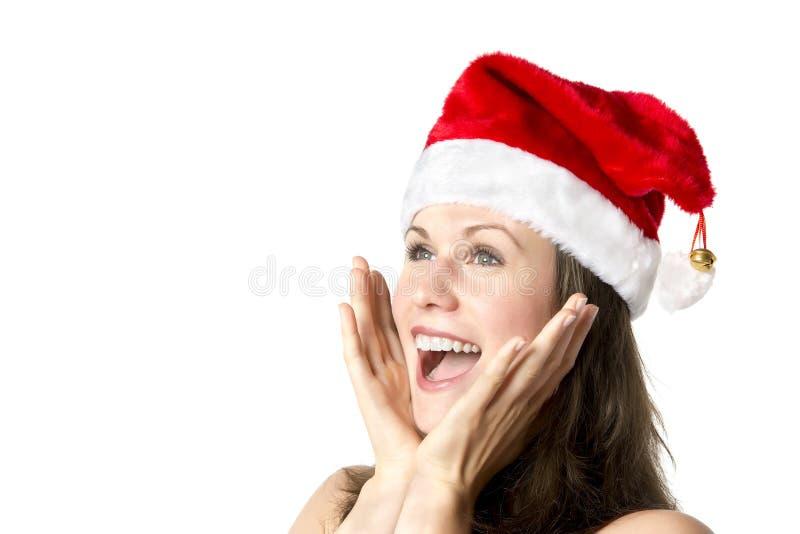 Γελώντας γυναίκα Άγιου Βασίλη στοκ φωτογραφία