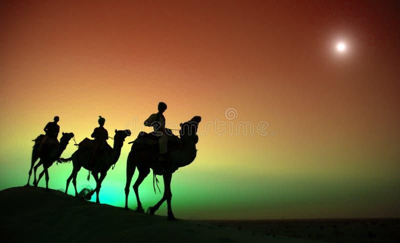 Γηγενής ινδική οδήγηση ατόμων μέσω της έννοιας καμηλών ερήμων στοκ εικόνες