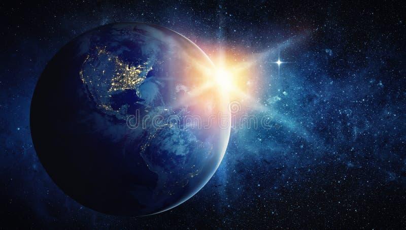 Γη, ήλιος, αστέρι και γαλαξίας ελεύθερη απεικόνιση δικαιώματος