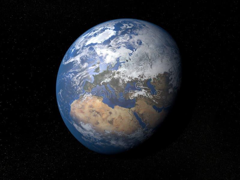Γη από τη διαστημική Ευρώπη με τα σύννεφα ελεύθερη απεικόνιση δικαιώματος