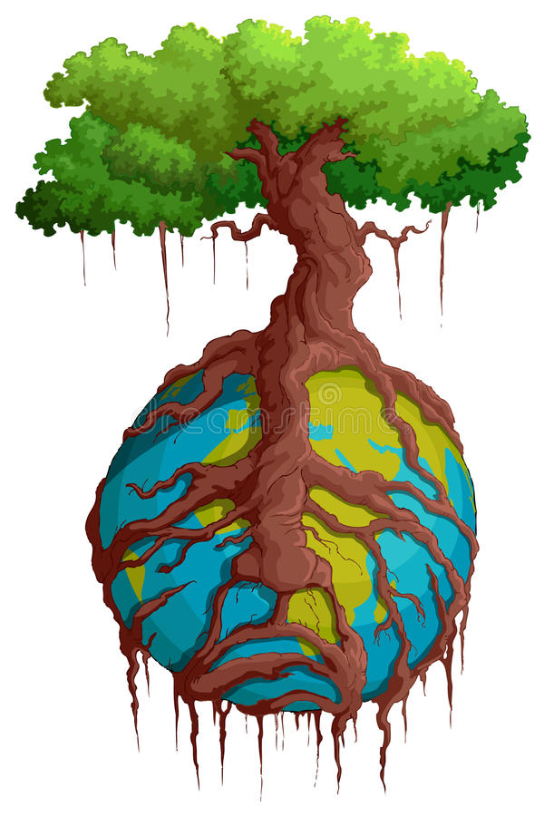 Γη εκμετάλλευσης ρίζας δέντρων ελεύθερη απεικόνιση δικαιώματος