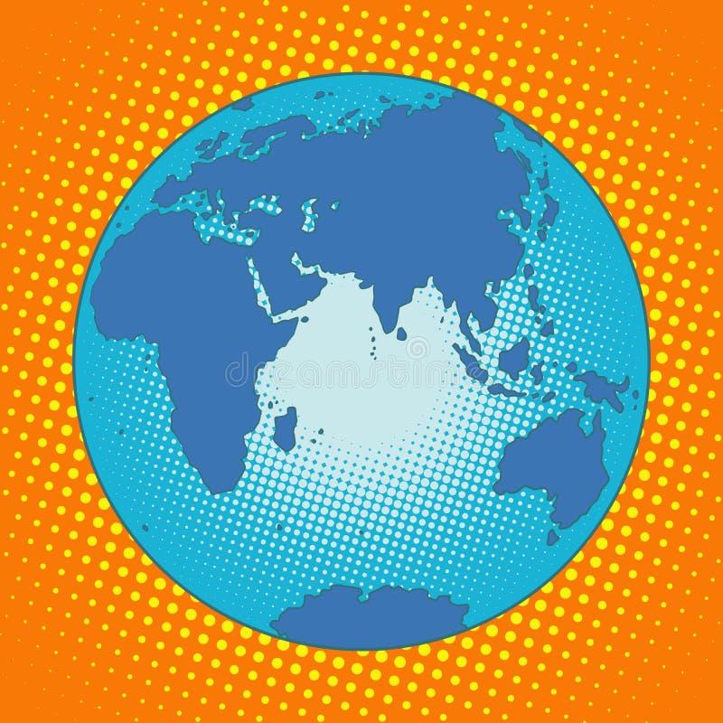 Γη Ευρασία Αφρική Αυστραλία Ανταρκτική μεταξύ Ασίας και Ευρώπης διανυσματική απεικόνιση