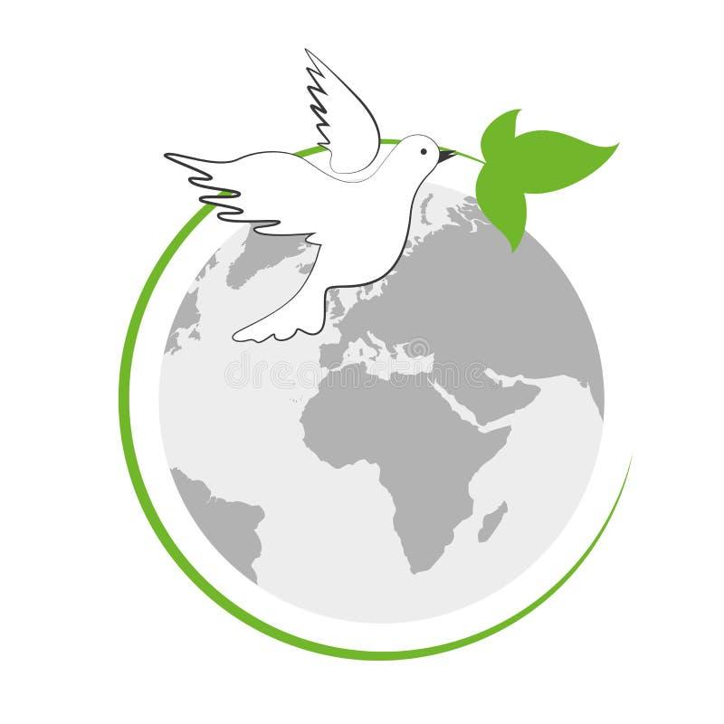 Γη και άσπρο περιστέρι ειρήνης με το πράσινο φύλλο διανυσματική απεικόνιση