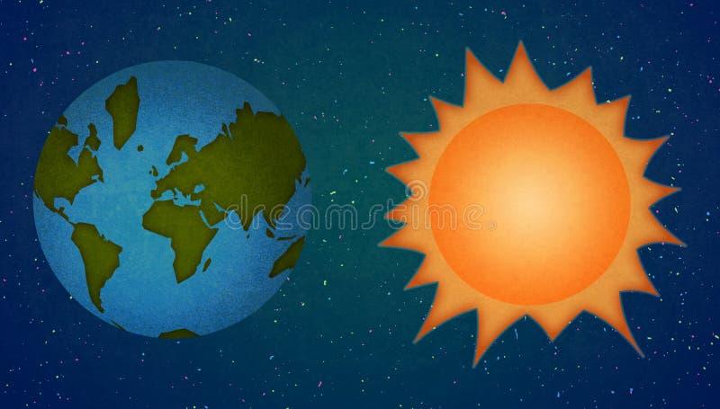 Γη και ήλιος, ύφος κινούμενων σχεδίων πλανητών ελεύθερη απεικόνιση δικαιώματος