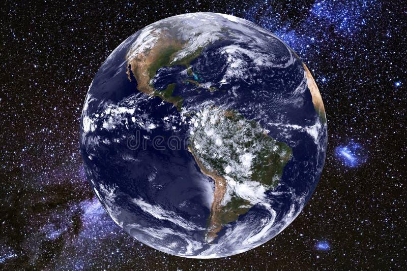 Γη και γαλακτώδης γαλαξίας τρόπων Στοιχεία αυτής της εικόνας που εφοδιάζεται από τη NASA στοκ εικόνες
