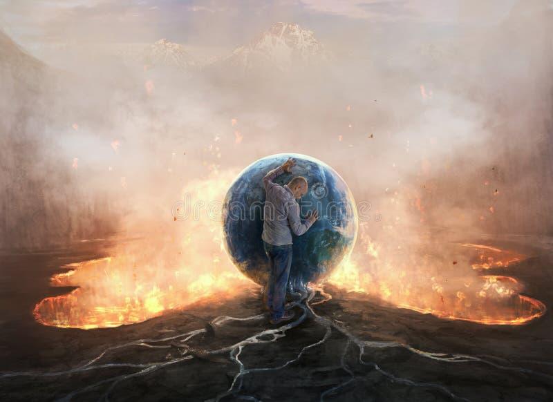 Γη και πυρκαγιά στοκ εικόνα
