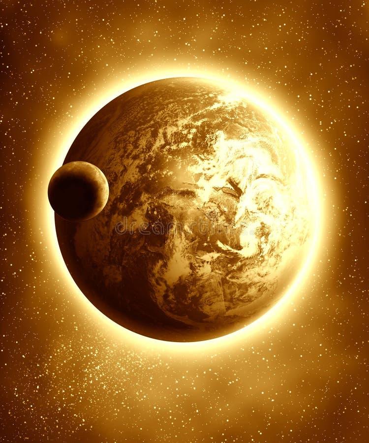 Γη και φεγγάρι ελεύθερη απεικόνιση δικαιώματος
