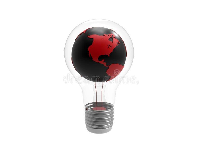Γη μέσα σε ένα lightbulb ελεύθερη απεικόνιση δικαιώματος