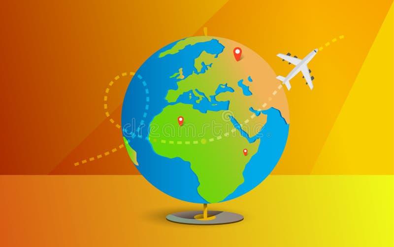 Γη με τα αεροσκάφη Οδικό ταξίδι Ταξίδι στον κόσμο Ταξίδι στον κόσμο r E Έμβλημα ταξιδιού Ανοικτή βαλίτσα με τα ορόσημα απεικόνιση αποθεμάτων