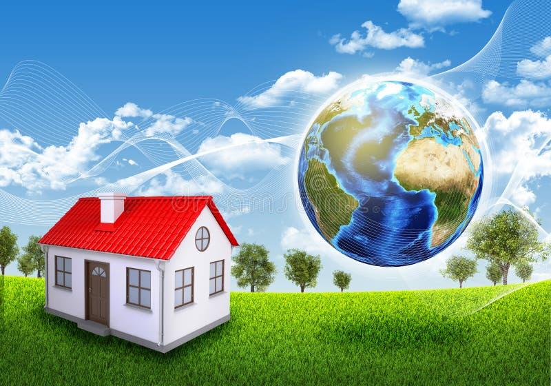 Γη, μικρό σπίτι, πράσινα χλόη και δέντρα ελεύθερη απεικόνιση δικαιώματος