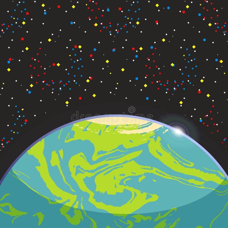 Γη - μπλε πλανήτης exo σφαιρών επίγειος στο σκοτεινό διαστημικό υπόβαθρο αστεριών Φουτουριστικό τοπίο κινούμενων σχεδίων διαστημι απεικόνιση αποθεμάτων