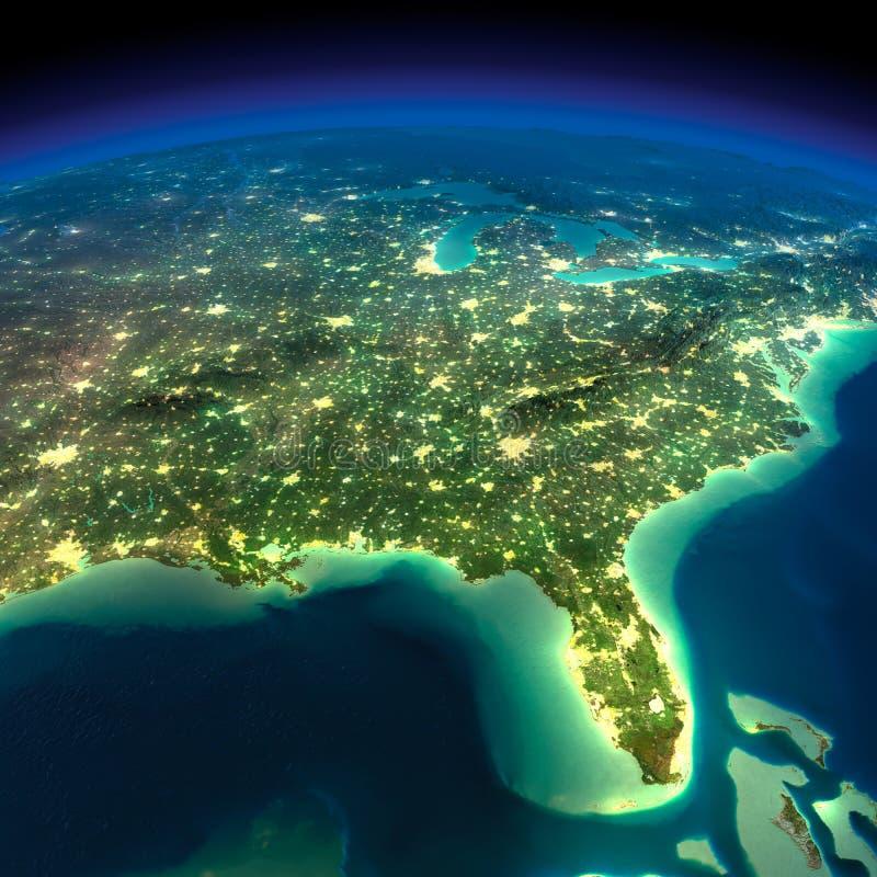 Γη νύχτας. Κόλπος του Μεξικού και της Φλώριδας ελεύθερη απεικόνιση δικαιώματος