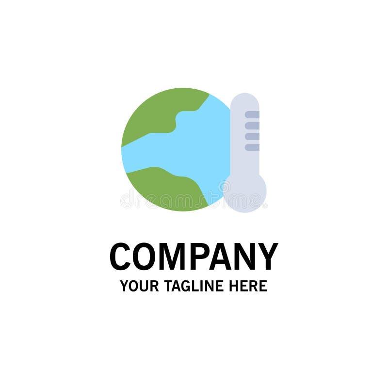 Γη, περιβάλλον, σφαιρικός, καυτός, πρότυπο επιχειρησιακών λογότυπων θερμοκρασίας Επίπεδο χρώμα ελεύθερη απεικόνιση δικαιώματος