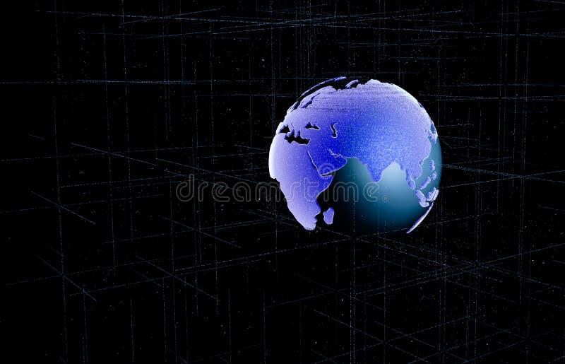 Γη περιλήψεων με τη γραμμή πλέγματος στη διαστημική απεικόνιση Μελλοντικός κόσμος με την έννοια τεχνολογίας τρισδιάστατη απεικόνι διανυσματική απεικόνιση