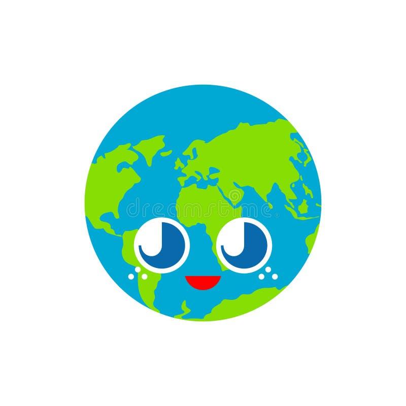 Γη που απομονώνεται χαριτωμένη αστείο ύφος κινούμενων σχεδίων πλανητών χαρακτήρας παιδιών Ύφος παιδιών διανυσματική απεικόνιση