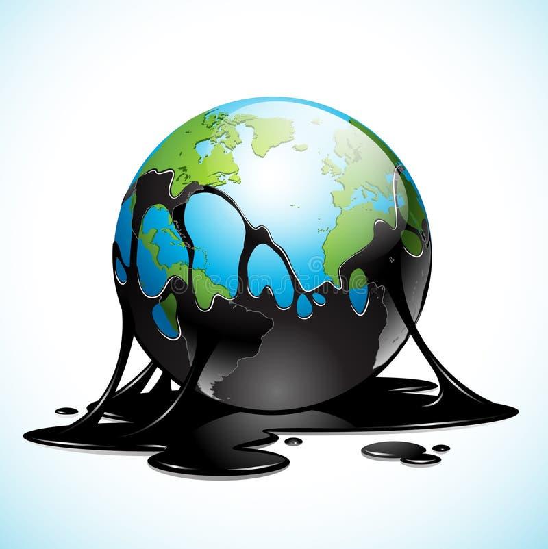 Γη που καλύπτεται με το πετρέλαιο διανυσματική απεικόνιση