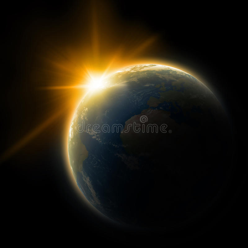 Γη στο διάστημα στοκ εικόνα με δικαίωμα ελεύθερης χρήσης