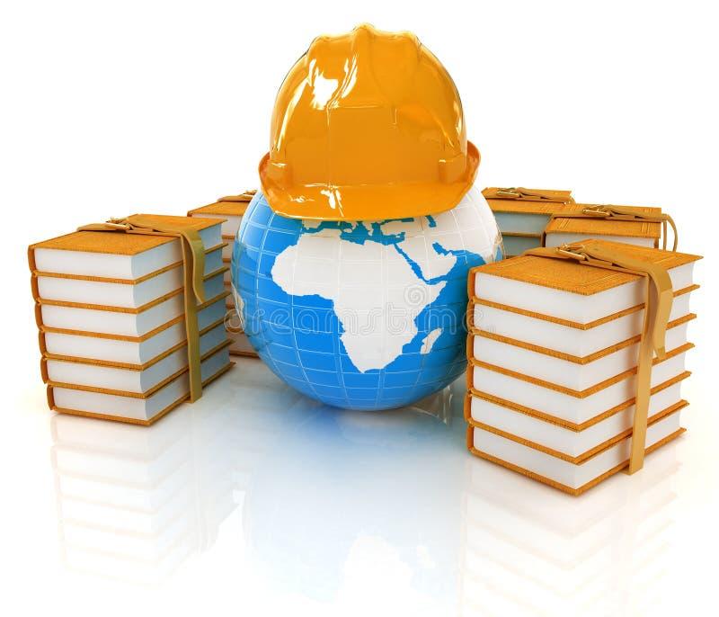 Γη στο σκληρά καπέλο και τα βιβλία τρισδιάστατος δώστε διανυσματική απεικόνιση