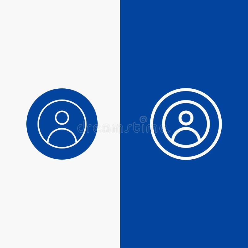 Γη, σφαιρικός, άνθρωποι, χρήστης, παγκόσμια γραμμή και στερεά γραμμή εμβλημάτων εικονιδίων Glyph μπλε και στερεό μπλε έμβλημα εικ διανυσματική απεικόνιση