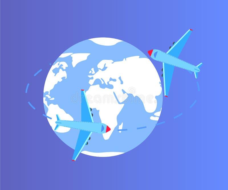 Γη σφαιρών με το διάνυσμα γραμμών και αεροπλάνων αεροσκαφών ελεύθερη απεικόνιση δικαιώματος