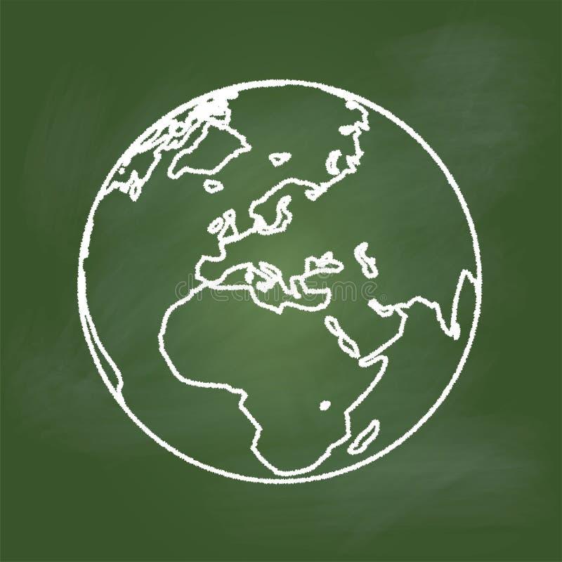 Γη σχεδίων χεριών στον πράσινο πίνακα, την Ευρώπη, την Ασία και την Αφρική - διανυσματική απεικόνιση ελεύθερη απεικόνιση δικαιώματος