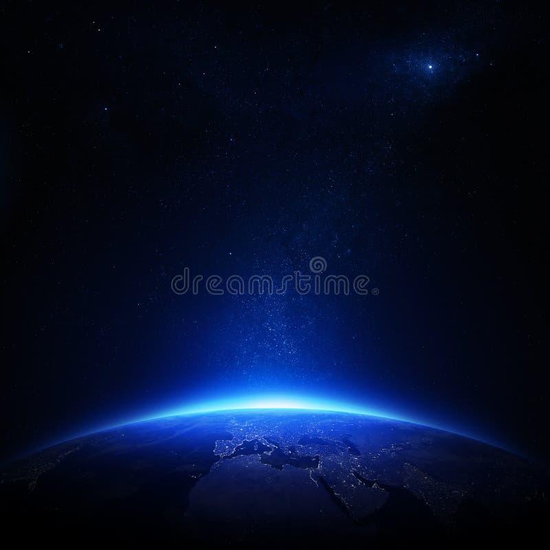 Γη τη νύχτα με τα φω'τα πόλεων διανυσματική απεικόνιση