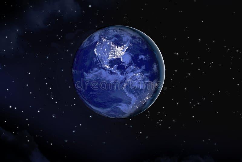 Γη τη νύχτα διανυσματική απεικόνιση