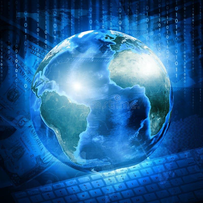 Γη, ψηφία και πληκτρολόγιο στο υπόβαθρο χρημάτων απεικόνιση αποθεμάτων
