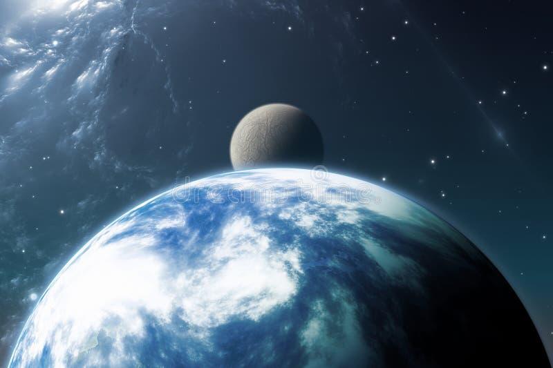 Γη όπως τον πλανήτη ή τον πλανήτη Extrasolar με το φεγγάρι απεικόνιση αποθεμάτων