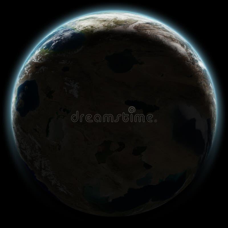 Γη όπως τον πλανήτη που αυξάνεται στο διάστημα τη νύχτα στοκ φωτογραφία με δικαίωμα ελεύθερης χρήσης