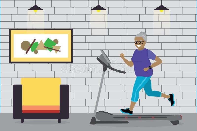 Γιαγιά αφροαμερικάνων κινούμενων σχεδίων που τρέχει treadmill, ελεύθερη απεικόνιση δικαιώματος