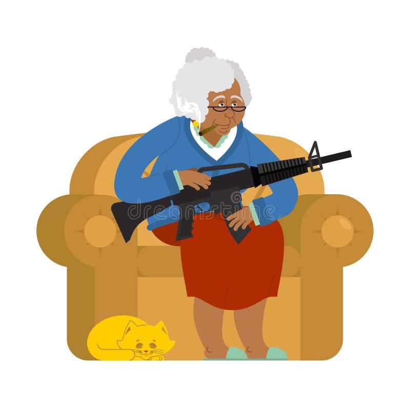 Γιαγιά αφροαμερικάνων με το πυροβόλο όπλο ηλικιωμένη γυναίκα πολυ&th ελεύθερη απεικόνιση δικαιώματος