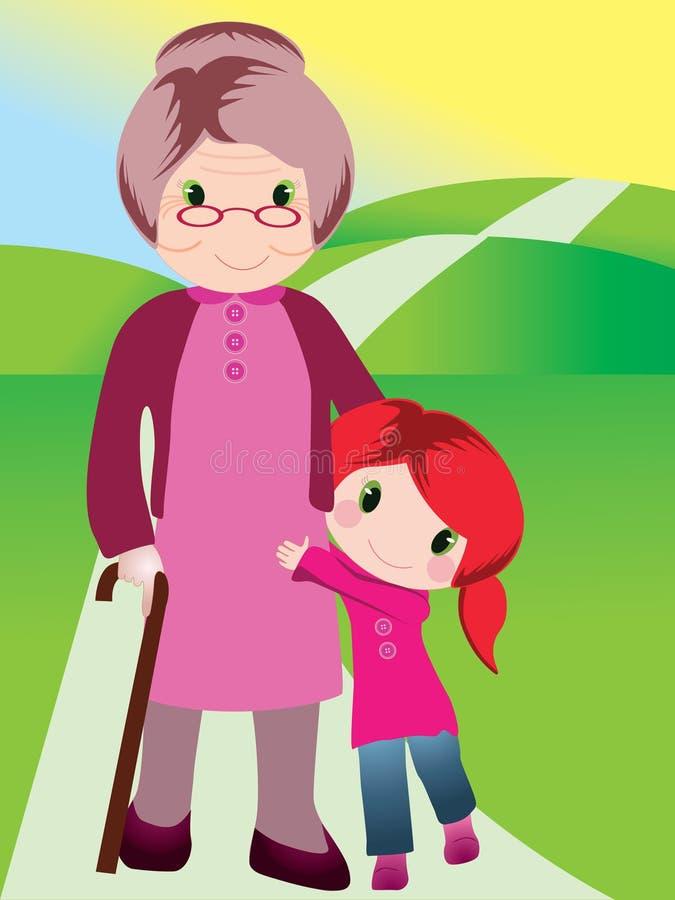 γιαγιά εγγονιών διανυσματική απεικόνιση