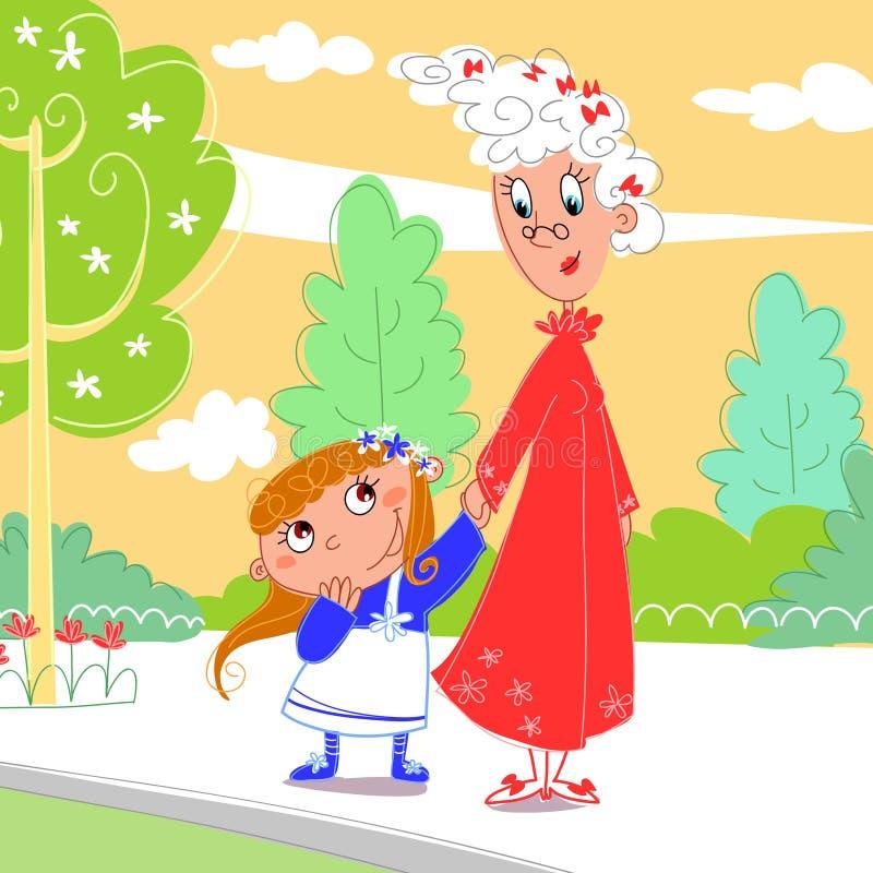γιαγιά εγγονών το πάρκο τη& ελεύθερη απεικόνιση δικαιώματος