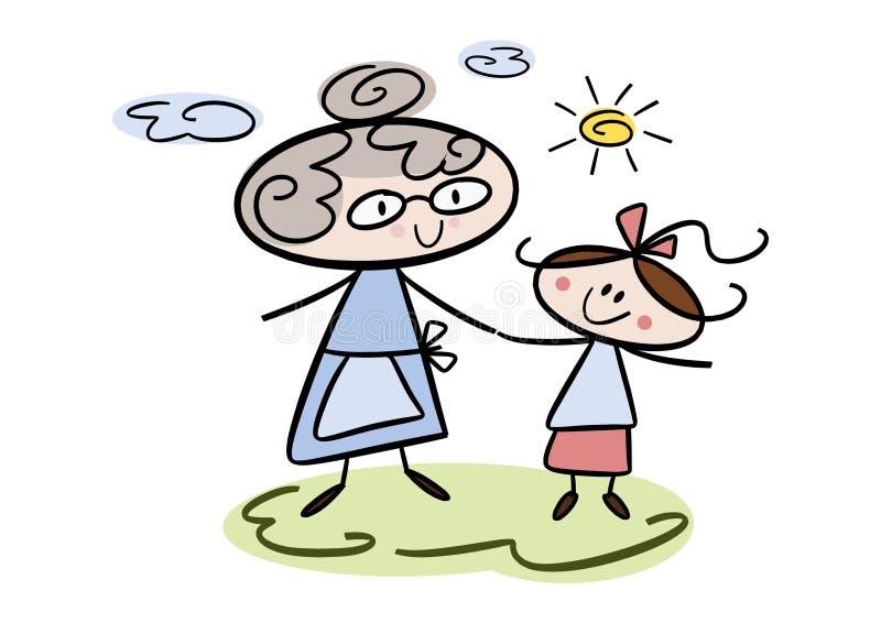 γιαγιά εγγονών διανυσματική απεικόνιση