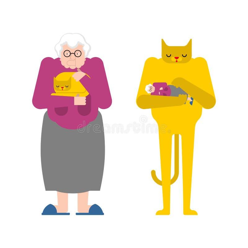 Γιαγιά και γάτα αντίθετες Η γιαγιά κτυπά το κατοικίδιο ζώο Ηλικιωμένη κυρία και γατάκι στα χέρια διανυσματική απεικόνιση