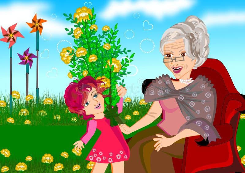 Γιαγιά και εγγονή διανυσματική απεικόνιση