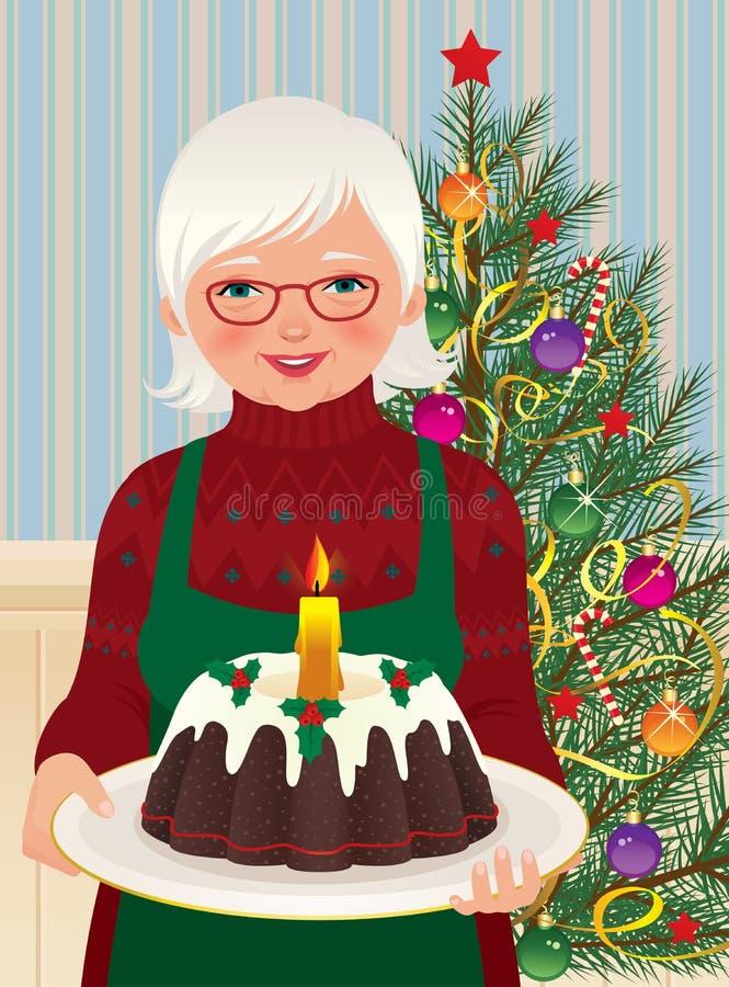 Γιαγιά και κέικ Χριστουγέννων απεικόνιση αποθεμάτων