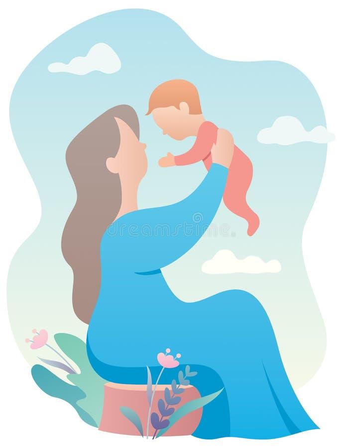 Γιαγιά και μωρό διανυσματική απεικόνιση