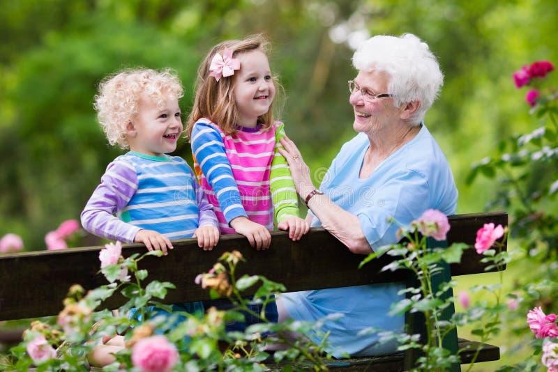 Γιαγιά και παιδιά που κάθονται στη φυτεία με τριανταφυλλιές στοκ εικόνα με δικαίωμα ελεύθερης χρήσης