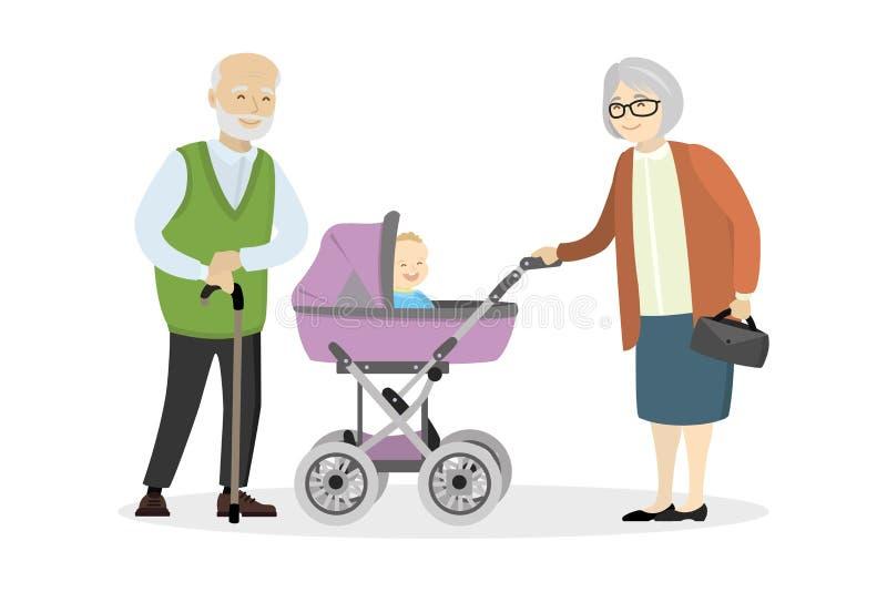 Γιαγιά και παππούς με ένα καροτσάκι και μωρό διανυσματική απεικόνιση