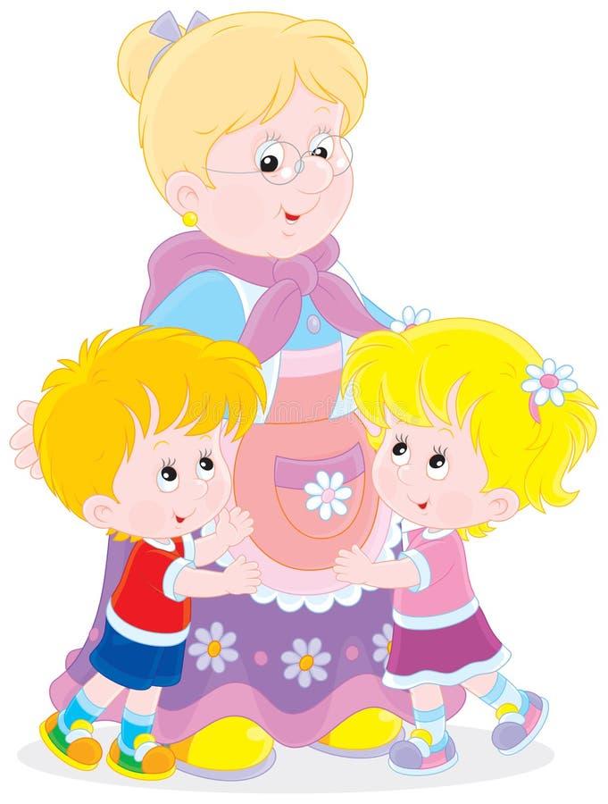 Γιαγιά και τα εγγόνια της διανυσματική απεικόνιση