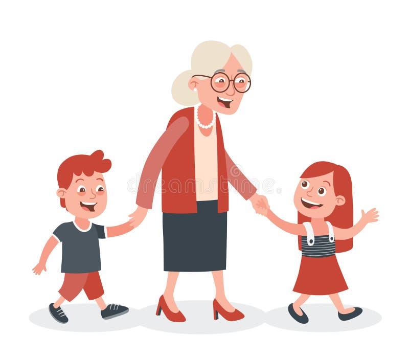 Γιαγιά και το περπάτημα εγγονιών της διανυσματική απεικόνιση