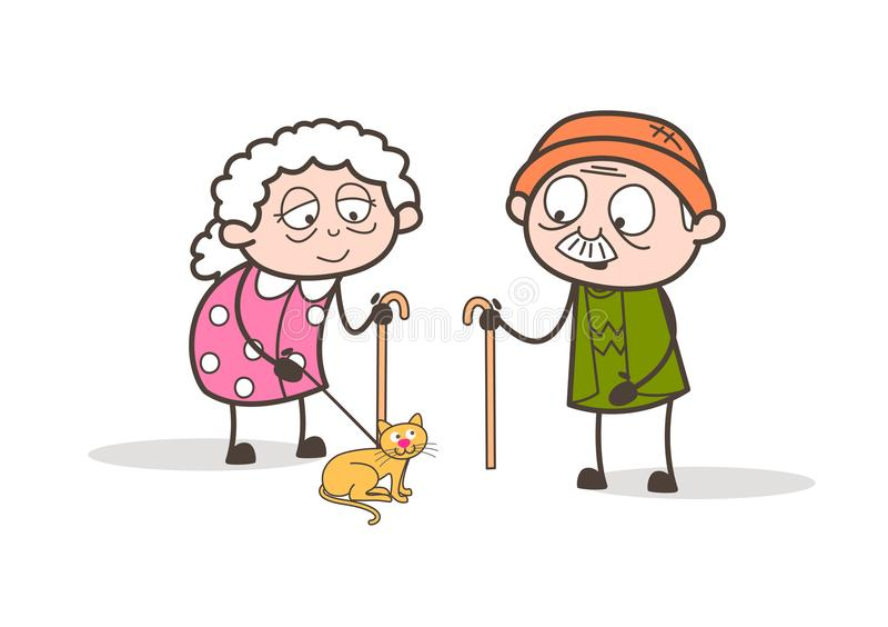 Γιαγιά και Grandpa κινούμενων σχεδίων στον περίπατο πρωινού με τη διανυσματική απεικόνιση γατών της Pet απεικόνιση αποθεμάτων