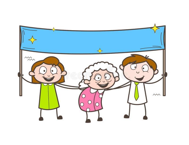 Γιαγιά κινούμενων σχεδίων με τα παιδιά που κρατούν μια διανυσματική απεικόνιση εμβλημάτων απεικόνιση αποθεμάτων